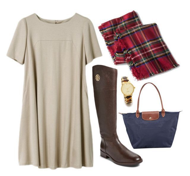 Cute thanksgiving outfit: plaid scarf, flowy dress, riding boots, & longchamp.