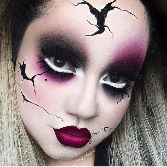 best 25 scary doll makeup ideas on pinterest creepy doll party costume doll makeup and. Black Bedroom Furniture Sets. Home Design Ideas