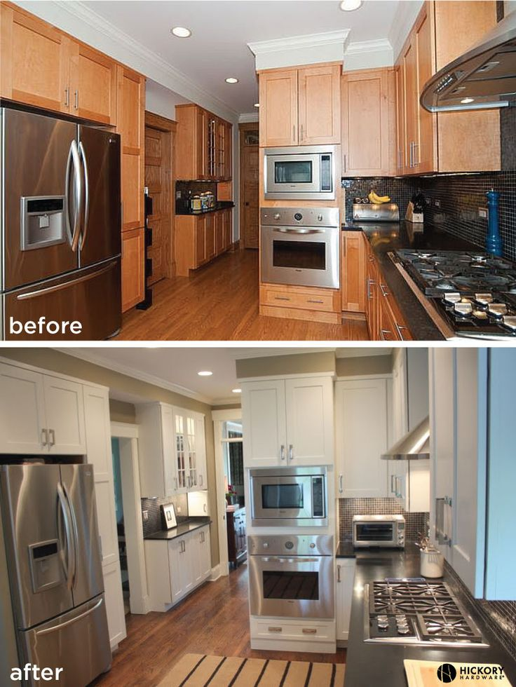Kitchen Update Oak To White Kitchen Cabinets And Updated Hickory Hardware With Studio Collection Pulls