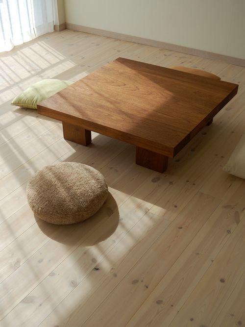 チーク極厚正方形ローテーブル / カグオカ