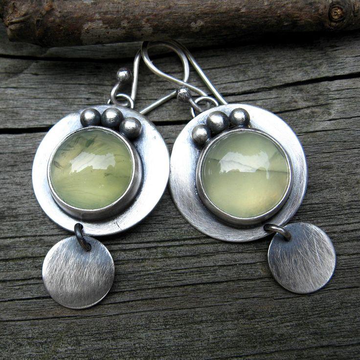 Earrings | Lisa Hendrick.  Sterling silver and prehnite.