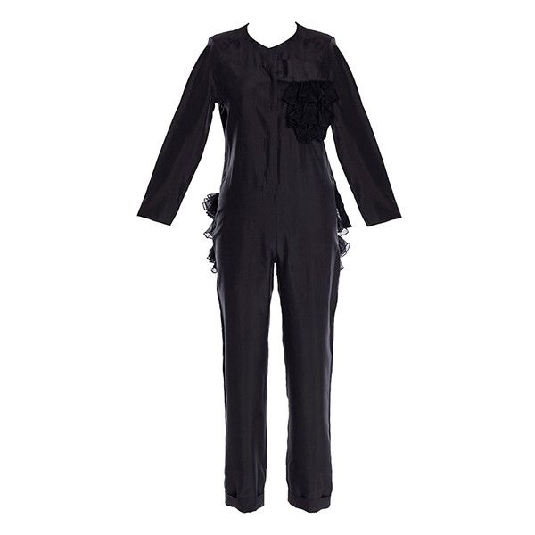 Parlor Catwoman Jumpsuit ($350) ❤ liked on Polyvore featuring jumpsuits, black, ruffle slip, jump suit, parlor, ruffle jumpsuit and playsuit jumpsuit