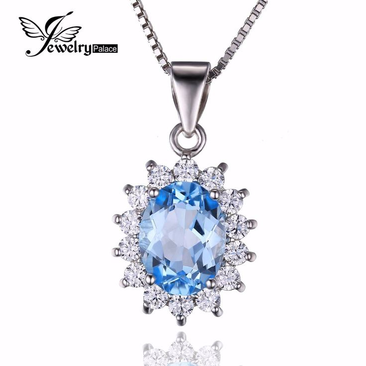 Jewelrypalace Princess Diana William Kate 2.3ct Natural Blue Topaz Halo Pendant 925 Sterling Silver Not Include a Chain 2016 New
