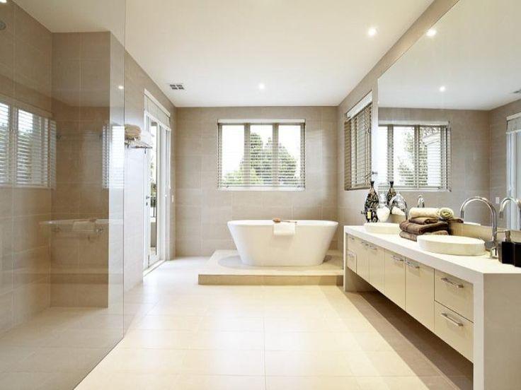 Modern bathroom design with freestanding bath using frameless glass - Bathroom Photo 206583