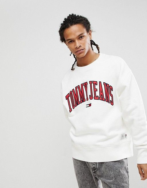 383c15d0 Tommy Jeans Collegiate Capsule Sweatshirt in White | asos men ...