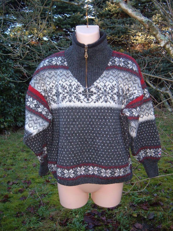 NORSKWEAR Norwegian Wool Zip Ski Sweater Unisex XS Nordic NORWAY Snowflake CZG #Norskwear #12Zip