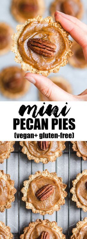 These healthy mini pecan pies are the perfect vegan and gluten-free holiday treat! #vegan #glutenfree #healthy #thanksgiving #pecanpie
