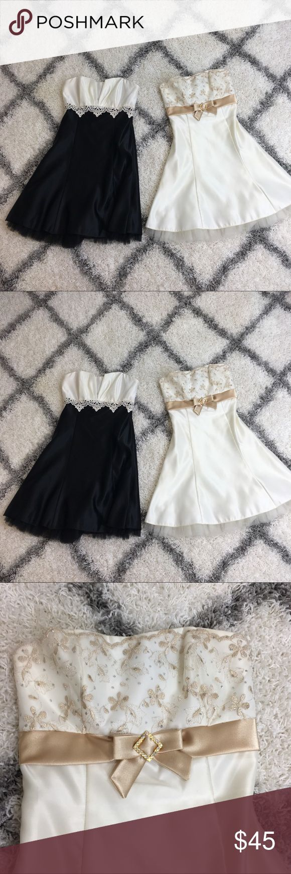 (Jessica McClintock) Strapless Dress Bundle Strapless dress bundle. Only selling together. Both Jessica McClintock brand. One size 3 and one size 5. Both have light wear and will need to be dry cleaned. No trades  — HU CLST  #bundle #strapless #prom Jessica McClintock Dresses Strapless