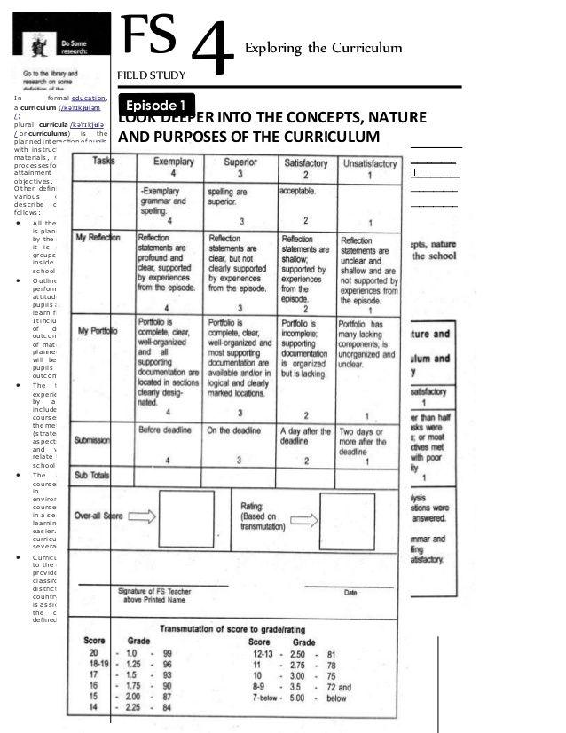 2 FIELD STUDY 4   FS 4   In formal education,   a curriculum (/kəˈrɪkjʉləm   /;   plural: curricula /kəˈrɪkjʉlə   / or curriculu...