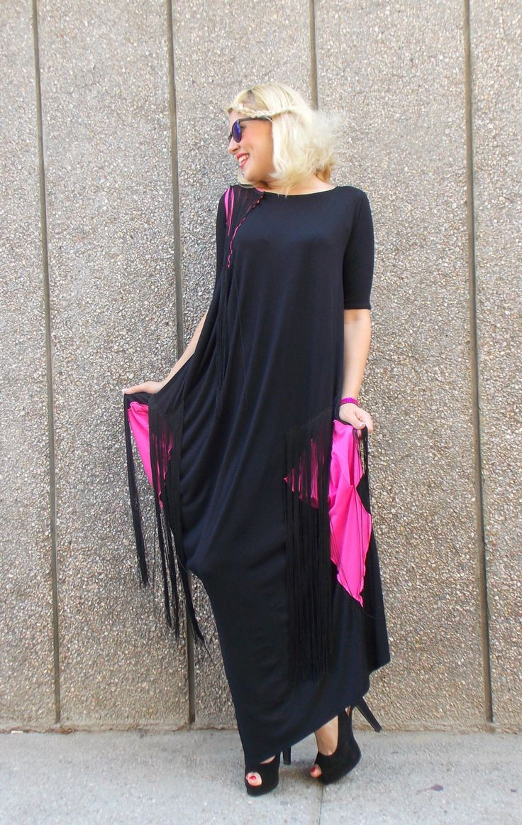Black Maxi Dress, Fringe Black Dress, Black Kaftan with Fuchsia Inset,  Long Kaftan with Silk Fringes TDK138 by TEYXO https://www.etsy.com/listing/239795914/black-maxi-dress-fringe-black-dress?utm_campaign=crowdfire&utm_content=crowdfire&utm_medium=social&utm_source=pinterest