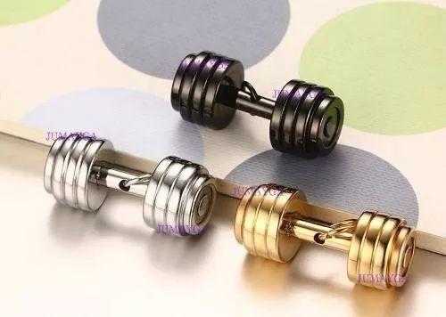 dije mancuernas pesas con cadena acero inox - titanio - gym
