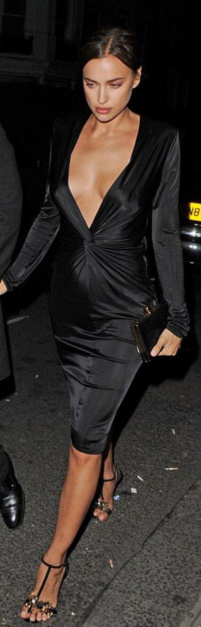 Who made Irina Shayk's black long sleeve dress?