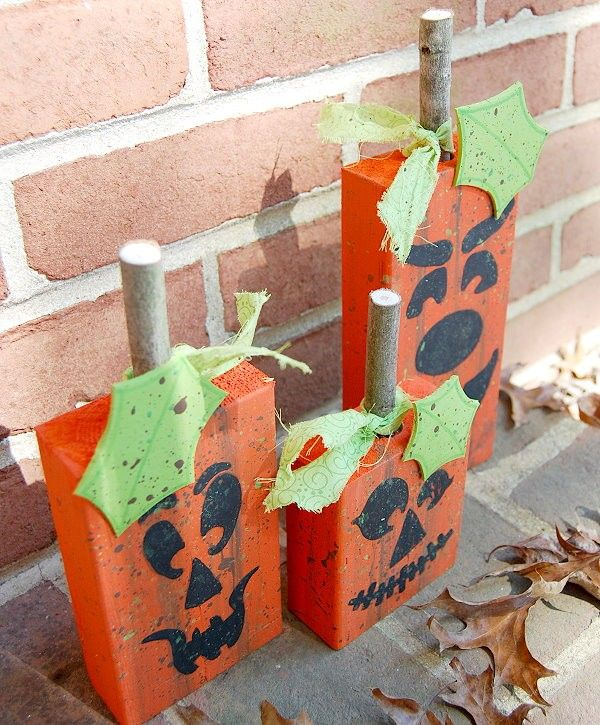 2x4 wood wood projects pumpkins jack o lanterns halloween cute - Rustic Halloween Decorations