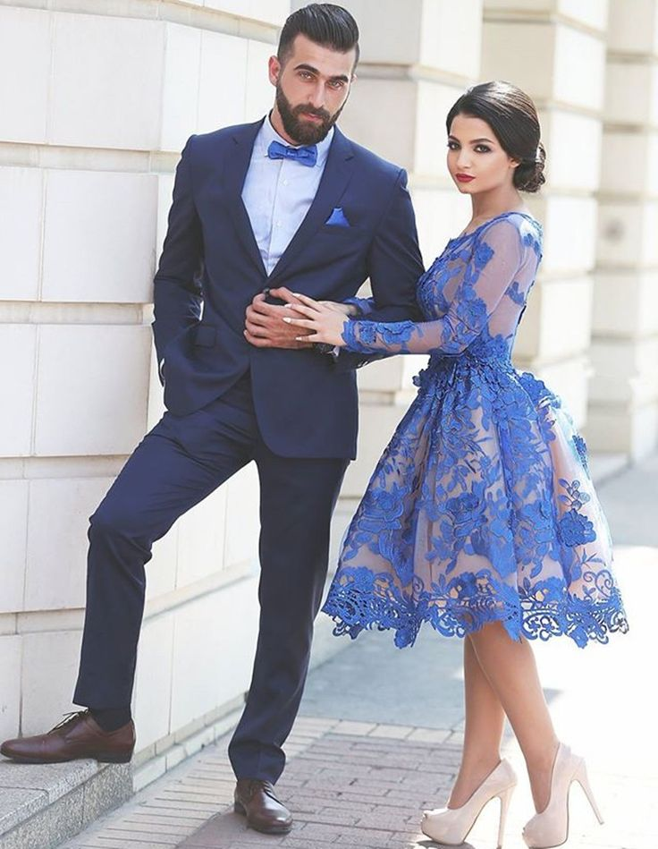 Appliques Scoop Knee-Length Prom Press,Long Sleeve Prom Dresses,A-Line Tulle Royal Blue Prom Dress,Short Prom Dresses