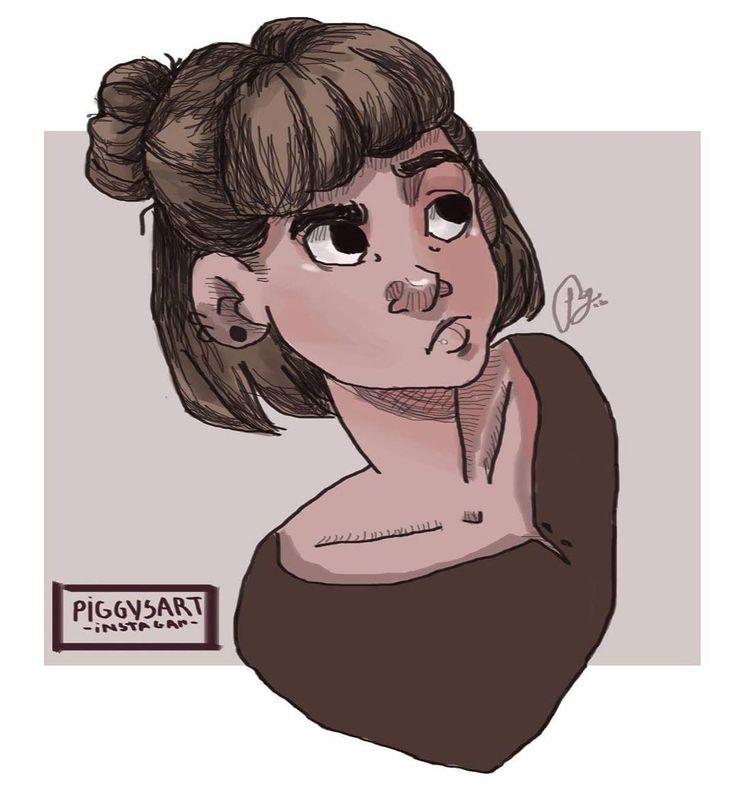 piggysart instagram facebook illustration drawing sketch  girl