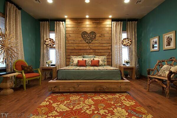 I want this bedroom. The color blue is perfect