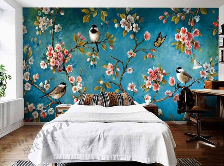 Indoor Wall Mural Wallpaper Plum Blossom Peach Apple Tree Bird Painting Of Flowers And Free