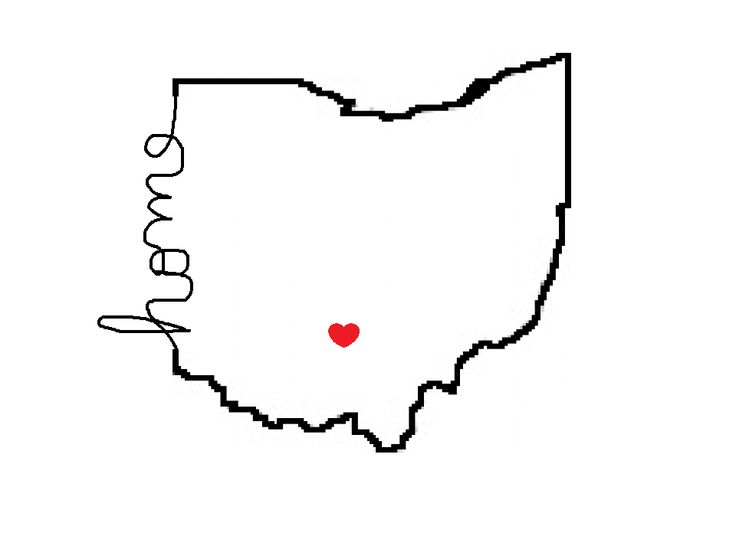 My drawing of my home state tattoo idea, but with the heart over Cleveland  #hometownproud #ohiostate