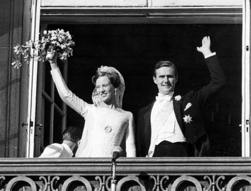 Princess Margrethe of Denmark and French Count Henri de Laborde de Monpezat on their wedding day June 10, 1967