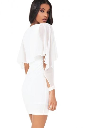 ad8dbe3eb28759 Women Ruffle Chiffon Patchwork Long Sleeve Bodycon Dress White - PINK QUEEN