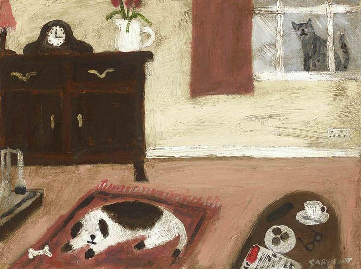 Gary Bunt. У огня. Мне нравится лежать у огня на моем любимом ковре. В то время как за окном на меня смотрит кошка. Теперь она выглядит не такой самод...
