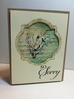 handmde sympathy card ... Window Frame framelit window cut into top layer ... lovely image created with white embossed script, black StazOn ink Serene Silhouettes, and sponge daubers for the subtle coloring ... beautiful image ... Stampin' Up!