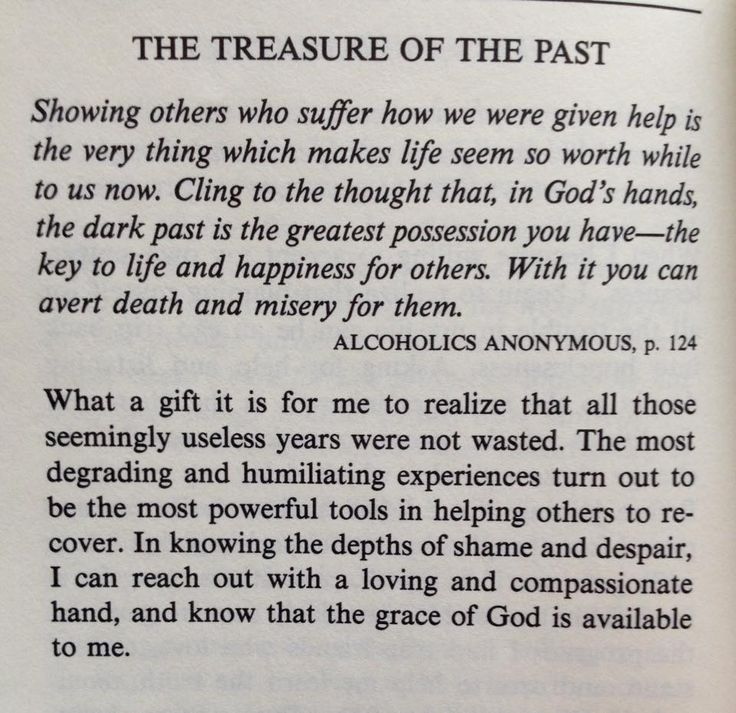 Treasure of the Past --- Alcoholics Anonymous p 124