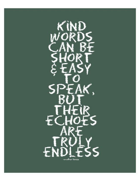 """Kind words can be short and easy to speak, but their echoes are truly endless."" -- Mother Teresa"