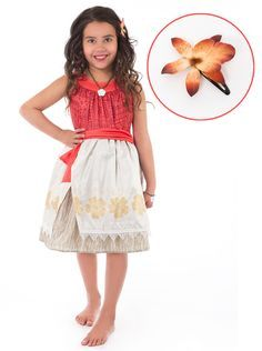 Moana Inspired Polynesian Princess Dress Dressup Costume- Machine Washable - Glitter Free