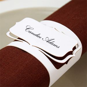 Love this idea - cardstock laser cut napkin rings