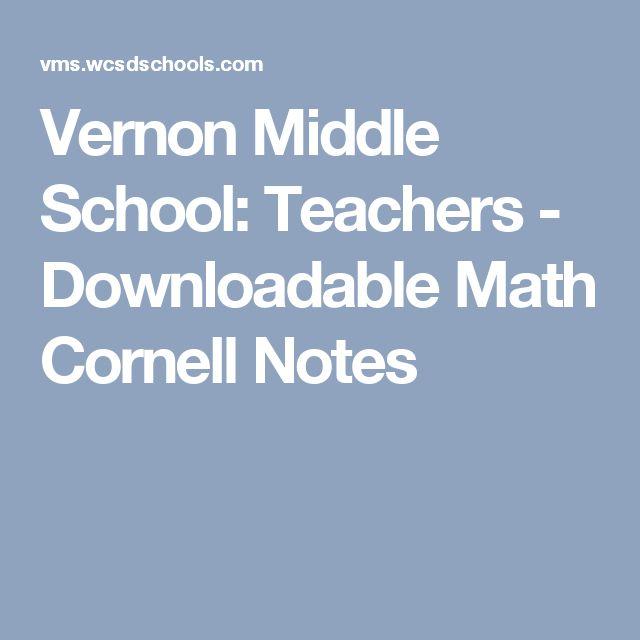 Vernon Middle School: Teachers - Downloadable Math Cornell Notes