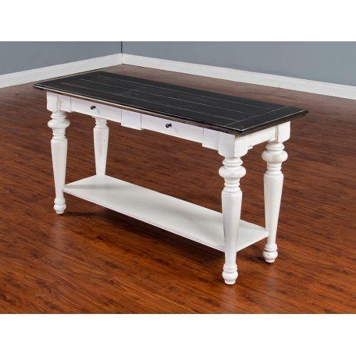 European Cottage Charcoal Gray U0026 White Sofa Table