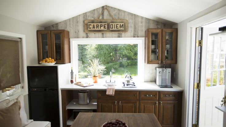 Tim and Shannon's Tiny House - kitchen / dining - photos : fyi - tiny house nation