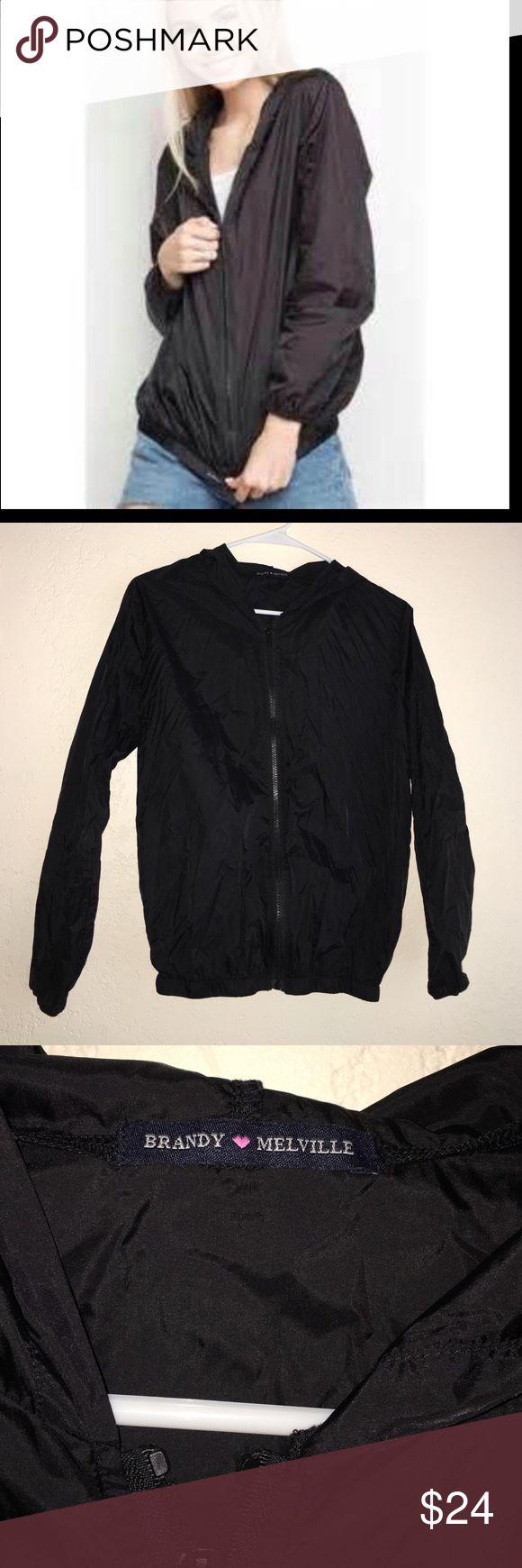 Brandy Melville windbreaker Brandy Melville thin black windbreaker (great condition, only worn a few times) it has NO pockets Brandy Melville Jackets & Coats