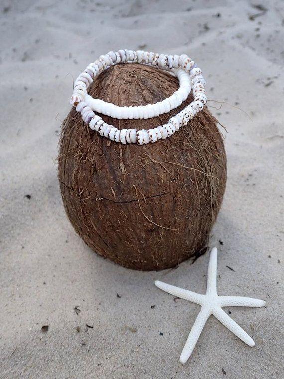 SALE 2 Shell bracelets Hawaiian white puka shell by CoconutLily - £5.50