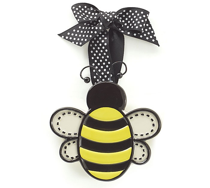 Ceramic Small Adornment Bumble Bee Christmas Ornament With Dotted Ribbon Holiday Decor Click Image For More Details