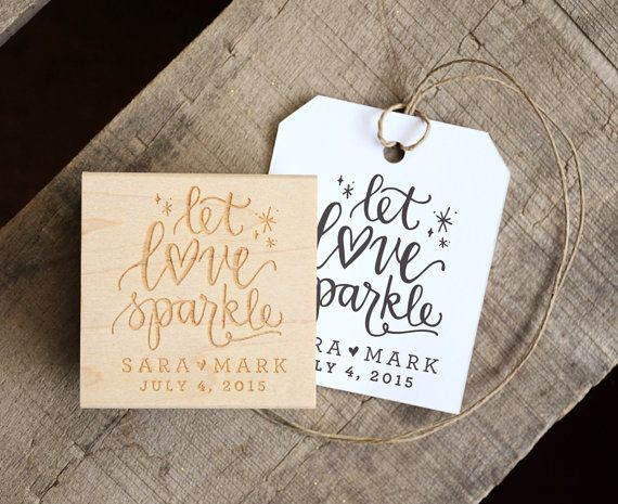 Let Love Sparkle Rubber Stamp, With or Without Personalized Name. Wedding Favors Tag with Wedding Date. Sparkler Send Off. Matches Favor.