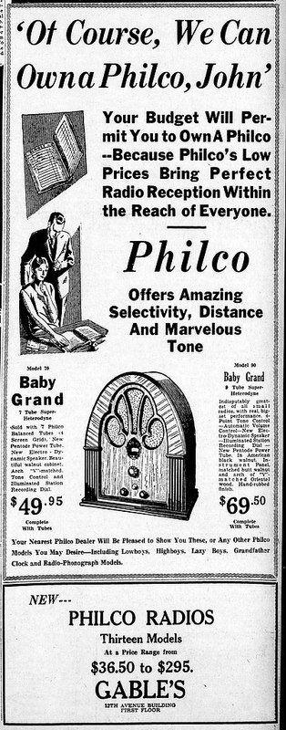 Vintage Philco Radio Advertising - Altoona Pennsylvania Tribune, January 6, 1932.