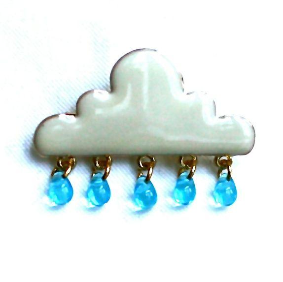 Regnsky- smykkenål med blå glassdråper