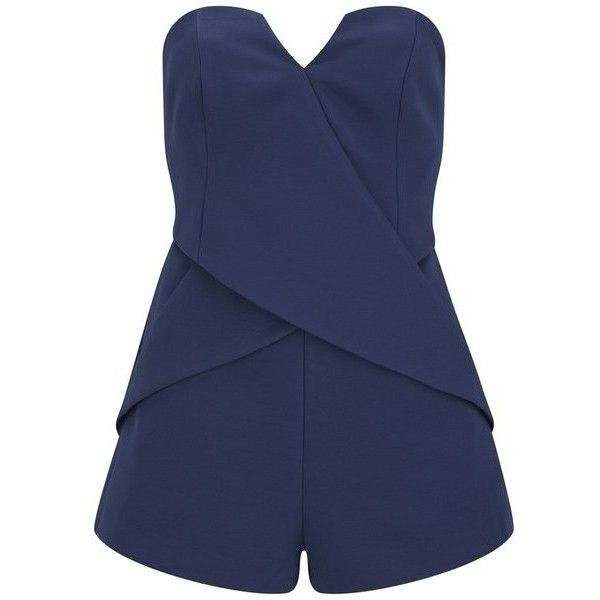 Finders Keepers Women's Inbetween Days Playsuit - Twilight (11945 DZD) ❤ liked on Polyvore featuring jumpsuits, rompers, romper, playsuit, dresses, shorts, navy, navy blue jumpsuit, blue rompers et jumpsuits & rompers