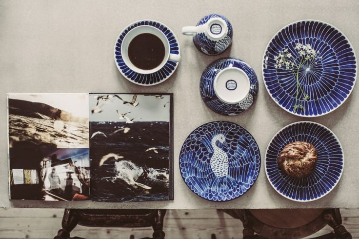 The swedish designer Emma von Brömssen blue and white porcelain collection Selma for Götefors Porslin.