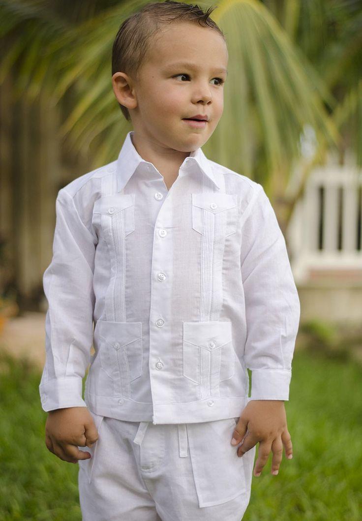 Guayabera Linen set for Boys white