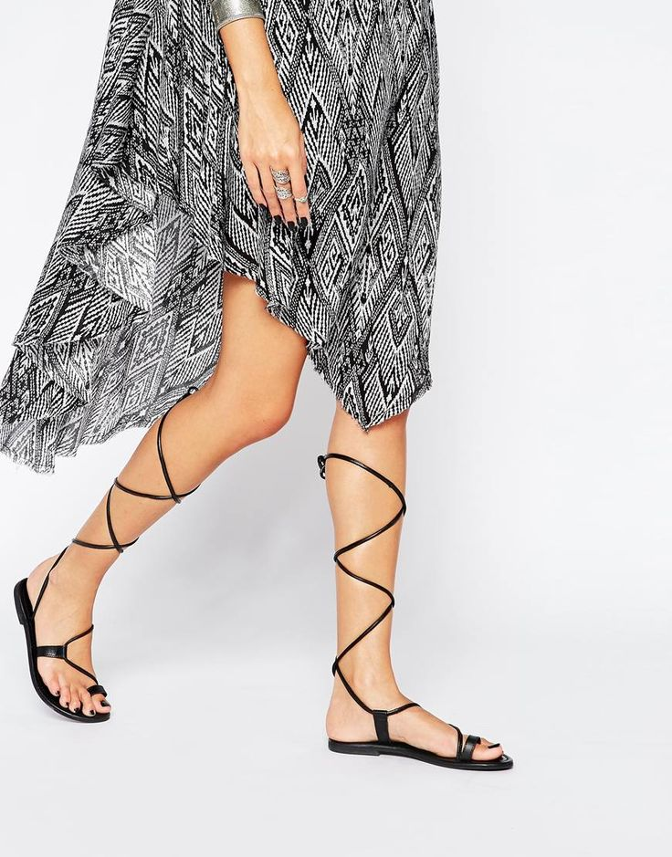 Image 1 ofASOS FEAR Leather Guilly Tie Flat Sandals