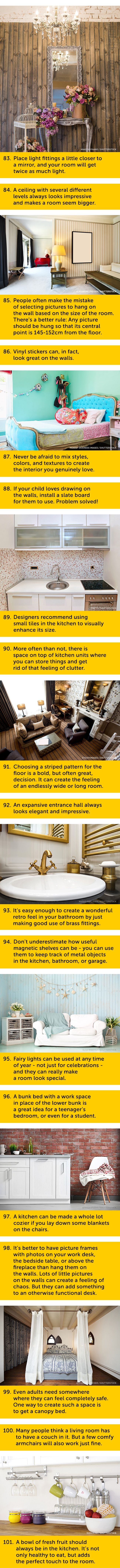 Everything you'll ever need to know about creating the perfect home, all in one place. 101 interior decorating ideas and tips