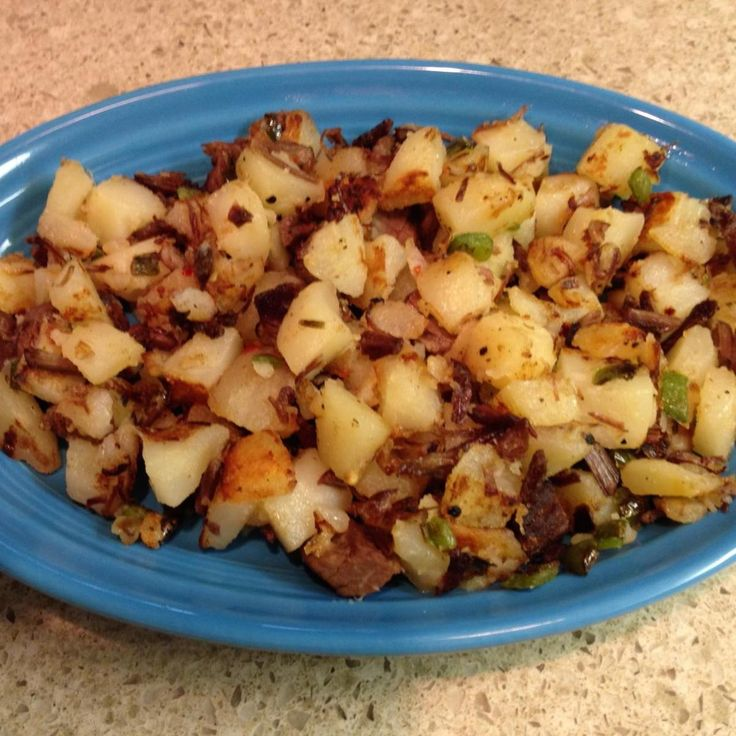 When I was growing up, my Dad would always make this with leftover meat. This dish always makes me think of him. My favorite way to serve this is for breakfast with fried eggs. I have changed the recipe by adding more spices and jalopenas.  You do not have to use them in this dish and may substitute with any kind of diced sweet peppers instead.