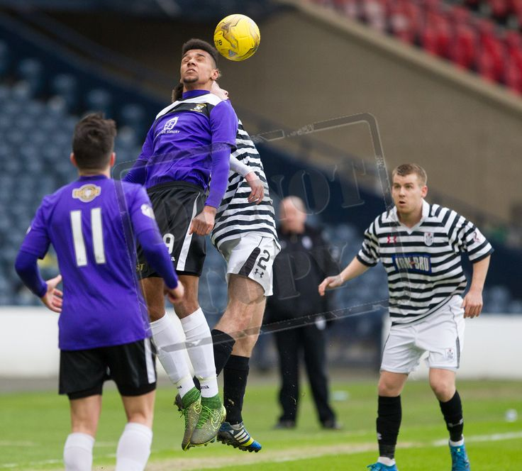 East Fife's Nathan Austin wins the header during the SPFL League Two game between Queen's Park and East Fife.