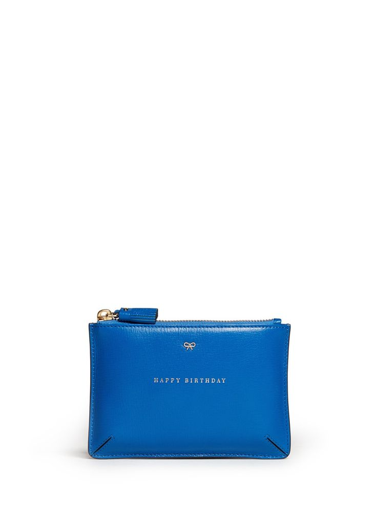 ANYA HINDMARCH - 'Happy Birthday Loose Pocket' small leather pouch | Blue and Green Small Leather Goods | Womenswear | Lane Crawford