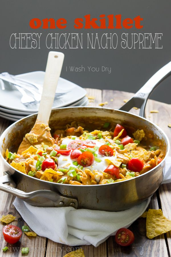 One Skillet, Cheesy Chicken Nacho Supreme. An easy 20 minute, one skillet dinner that the whole family will love!