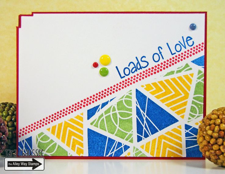 Happy love card created with The Alley Way Stamps new Tri-Me clear stamp set! I also used Jibber Jabber and Speak Easy clear stamp sets. For TAWS! Secretbees Studio: More Bright Triangles!