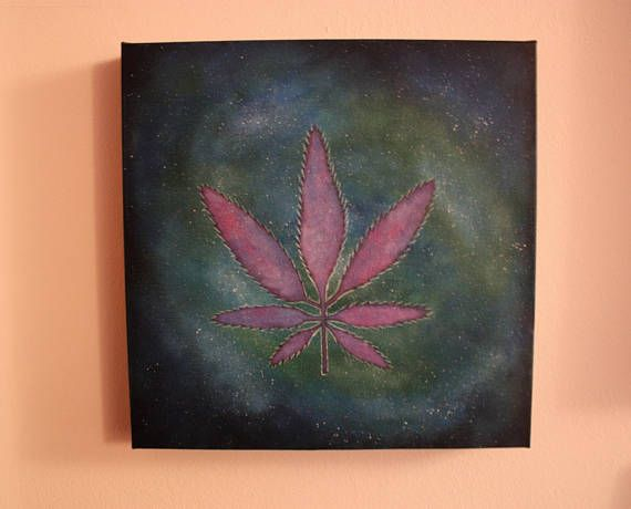 Cannabis Leaf in Space Painting Weed Art 12x12